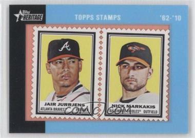 2011 Topps Heritage Encased Stamps #JJNM - Jair Jurrjens, Nick Markakis /62