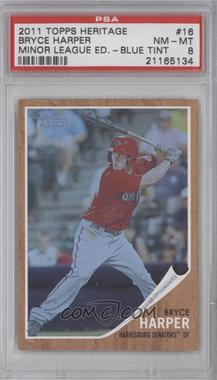 2011 Topps Heritage Minor League Edition Blue Tint #16 - Bryce Harper /620 [PSA 8]