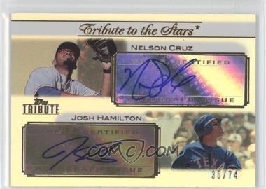 2011 Topps Tribute Tribute to the Stars Dual Certified Autograph [Autographed] #TSA-LH - Josh Hamilton, Nelson Cruz /74