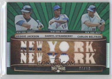 2011 Topps Triple Threads - Relic Combos - Emerald #TTRC-33 - Reggie Jackson, Darryl Strawberry, Carlos Beltran /18