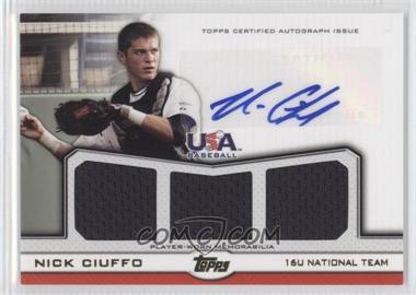 2011 Topps USA Baseball Team Autographed Triple Relics Gold #ATR-NC - Nick Ciuffo /10