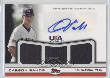 2011 Topps USA Baseball Team Autographed Triple Relics Red #ATR-CSA - Carson Sands /25