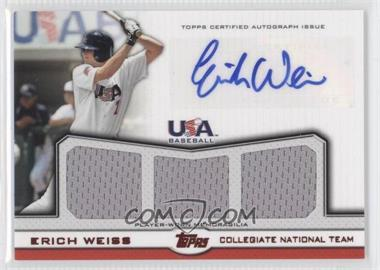 2011 Topps USA Baseball Team Autographed Triple Relics Red #ATR-EW - Erich Weiss /25