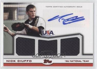2011 Topps USA Baseball Team Autographed Triple Relics Red #ATR-NC - Nick Ciuffo /25
