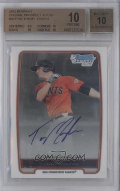 2012 Bowman - Chrome Prospects Certified Autographs - [Autographed] #BCP100 - Tommy Joseph [BGS10]