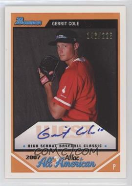 2012 Bowman Aflac All-American Certified Autographs [Autographed] #AFLAC-GC - Gerrit Cole /225
