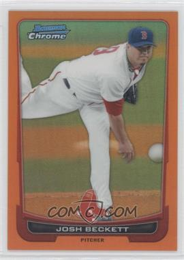 2012 Bowman Chrome Orange Refractor #15 - Josh Beckett /25