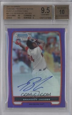 2012 Bowman Chrome Prospects Certified Autographs Purple Refractor [Autographed] #BCP93 - Brandon Jacobs /10 [BGS 9.5]