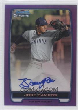 2012 Bowman Chrome Prospects Certified Autographs Purple Refractor [Autographed] #BCPJC - Jose Campos /10