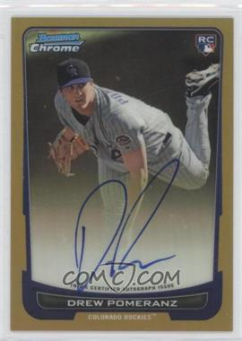 2012 Bowman Chrome Rookie Certified Autographs Gold Refractor [Autographed] #212 - Drew Pomeranz /50
