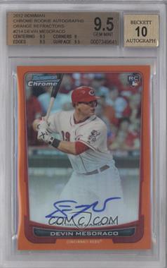 2012 Bowman Chrome Rookie Certified Autographs Orange Refractor [Autographed] #214 - Devin Mesoraco /25 [BGS9.5]