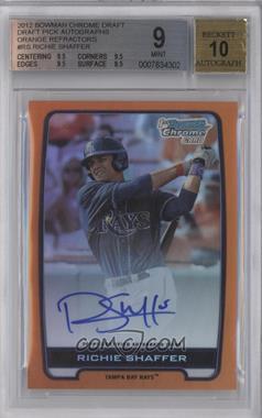 2012 Bowman Draft Picks & Prospects - Chrome Draft Picks Certified Autographs - Orange Refractor [Autographed] #BCA-RS - Richie Shaffer /25 [BGS9]