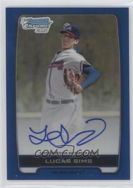 2012 Bowman Draft Picks & Prospects Chrome Draft Picks Certified Autographs Blue Refractor #BCA-LS - Lucas Sims /150
