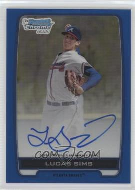 2012 Bowman Draft Picks & Prospects Chrome Draft Picks Certified Autographs Blue Refractor #BCA-LS - Lucas Sims /150