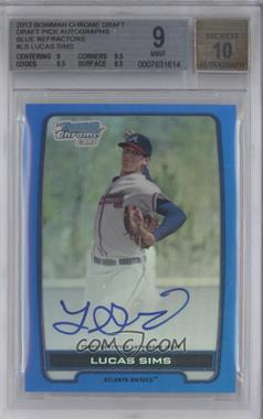 2012 Bowman Draft Picks & Prospects Chrome Draft Picks Certified Autographs Blue Refractor #BCA-LS - Lucas Sims /150 [BGS 9]