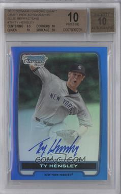 2012 Bowman Draft Picks & Prospects Chrome Draft Picks Certified Autographs Blue Refractor #BCA-TH - ty hensley /150 [BGS 10]