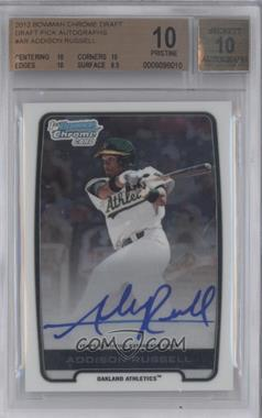 2012 Bowman Draft Picks & Prospects Chrome Draft Picks Certified Autographs #BCA-AR - Addison Russell [BGS 10]