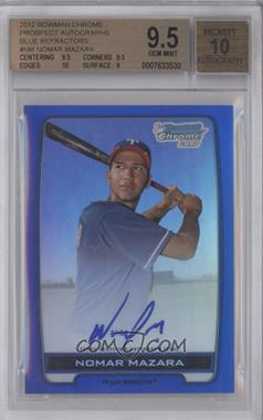 2012 Bowman Draft Picks & Prospects Chrome Prospects Certified Autographs Blue Refractor #BCPNM - Nomar Mazara /150 [BGS 9.5]