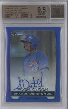 2012 Bowman Draft Picks & Prospects Chrome Prospects Certified Autographs Blue Refractor #BCPSD - Shawon Dunston Jr. /150 [BGS9.5]