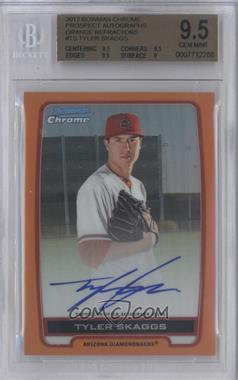 2012 Bowman Draft Picks & Prospects Chrome Prospects Certified Autographs Orange Refractor #BCA-TS - Tyler Skaggs /25 [BGS 9.5]