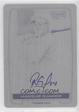 2012 Bowman Draft Picks & Prospects Chrome Prospects Certified Autographs Printing Plate Black #BCA-RG - Ronald Guzman /1