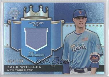 2012 Bowman Draft Picks & Prospects Futures Game Relics #FGR-ZW - Zack Wheeler /199