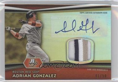 2012 Bowman Platinum - Autographed Relic - Gold Refractor Patch #AR-AG - Adrian Gonzalez /50