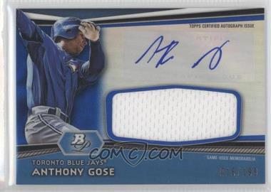 2012 Bowman Platinum Autographed Jumbo Relics Blue Refractor [Autographed] #AJR-AG - Anthony Gose /199