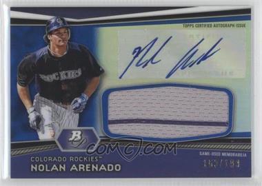 2012 Bowman Platinum Autographed Jumbo Relics Blue Refractor [Autographed] #AJR-NA - Nolan Arenado /199