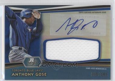 2012 Bowman Platinum Autographed Jumbo Relics Blue Refractor #AJR-AG - Anthony Gose /199