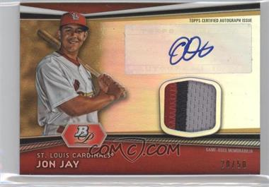 2012 Bowman Platinum Autographed Jumbo Relics Gold Refractor Patch #AJR-JJ - Jon Jay /50