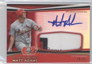 2012 Bowman Platinum Autographed Jumbo Relics Red Refractor Patch #AJR-MA - Matt Adams /25