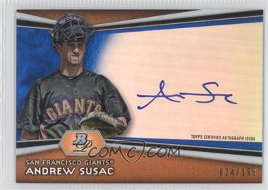2012 Bowman Platinum Autographed Prospects Blue Refractor #AP-ASU - Andrew Susac /199