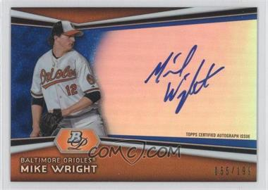 2012 Bowman Platinum Autographed Prospects Blue Refractor #AP-MW - Mike Wright /199