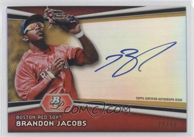 2012 Bowman Platinum Autographed Prospects Gold Refractor #AP-BJ - Brandon Jacobs /50