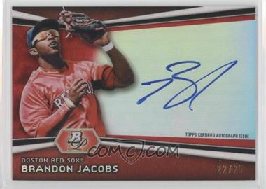 2012 Bowman Platinum Autographed Prospects Red Refractor #AP-BJ - Brandon Jacobs /25