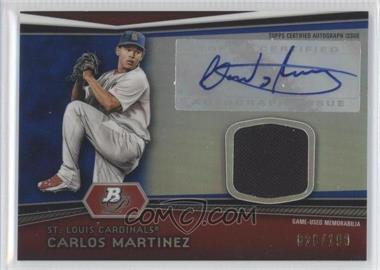 2012 Bowman Platinum Autographed Relic Blue Refractor #AR-CM - Carlos Martinez /199