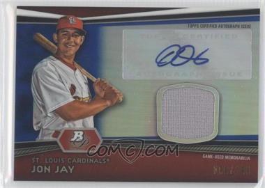 2012 Bowman Platinum Autographed Relic Blue Refractor #AR-JJ - Jon Jay /199
