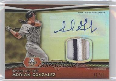 2012 Bowman Platinum Autographed Relic Gold Refractor Patch #AR-AG - Adrian Gonzalez /50