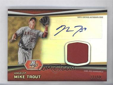 2012 Bowman Platinum Autographed Relic Gold Refractor Patch #AR-MT - Mike Trout /50