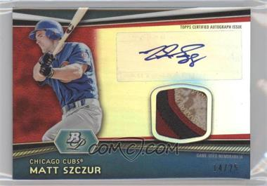 2012 Bowman Platinum Autographed Relic Red Refractor Patch #AR-MS - Matt Szczur /25
