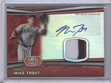 2012 Bowman Platinum Autographed Relic Red Refractor Patch #AR-MT - Mike Trout /25