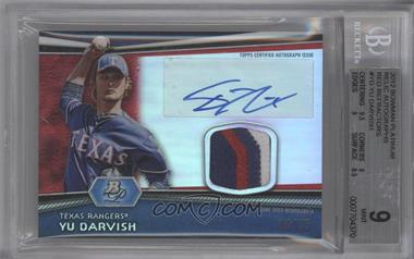 2012 Bowman Platinum Autographed Relic Red Refractor Patch #AR-YD - Yu Darvish /25 [BGS 9]