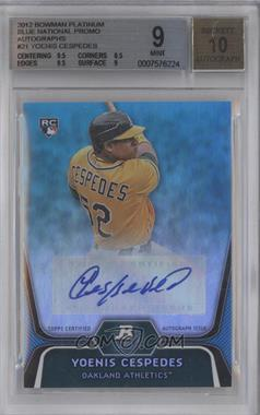 2012 Bowman Platinum National Convention Wrapper Redemption [Base] Platinum Blue Autographs [Autographed] #21 - Yoenis Cespedes /5 [BGS 9]