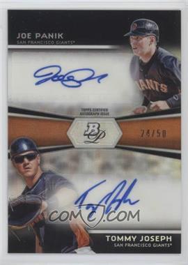 2012 Bowman Platinum Prospects Dual Autographs #DA-JP - Joe Panik, Tommy Joseph /50