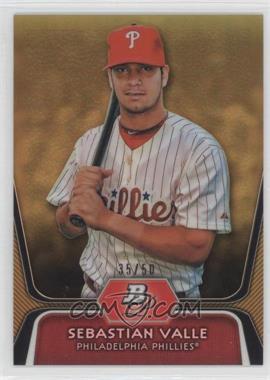 2012 Bowman Platinum Prospects Gold Refractor #BPP99 - Sebastian Valle /50
