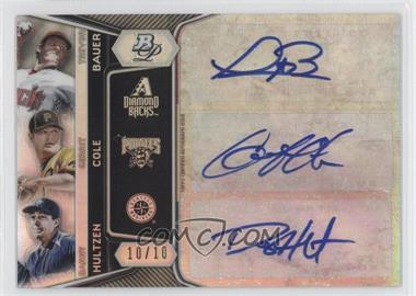 2012 Bowman Platinum Triple Autograph #TA-BCH - Trevor Bauer, Gerrit Cole, Danny Hultzen /10