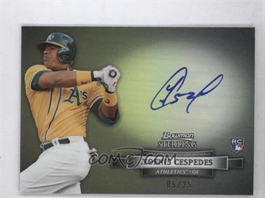 2012 Bowman Sterling Autographed Rookie Black Refractor #BSAR-YC - Yoenis Cespedes /25