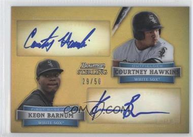 2012 Bowman Sterling Dual Autographs Gold Refractor #DA-HB - Courtney Hawkins, Keon Barnum /50