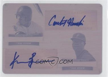 2012 Bowman Sterling Dual Autographs Printing Plate Magenta #DA-HB - Courtney Hawkins, Keon Barnum /1